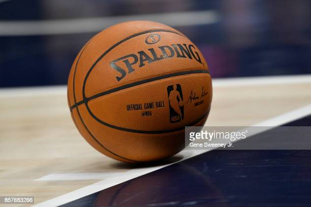 General view of a Spalding game ball used during the preseason game between the Maccabi Haifa and the Utah Jazz at Vivint Smart Home Arena on October...