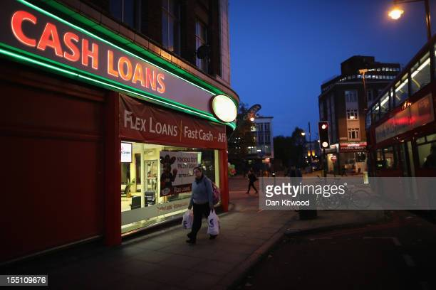 General view of a 'Speedy Cash' cash loans shop on Brixton High Street on November 1, 2012 in London, England. The recession has changed the face of...