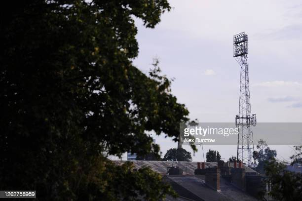 A general view of a stadium floodlight during the Sky Bet Championship Play Off Semifinal 2nd Leg match between Brentford and Swansea City at Griffin...