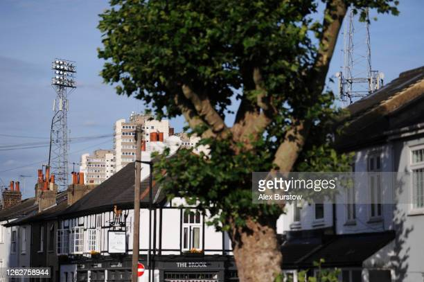 A general view of a stadium floodlight prior to the Sky Bet Championship Play Off Semifinal 2nd Leg match between Brentford and Swansea City at...