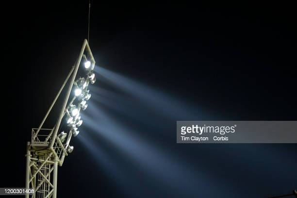 January 15: A general view of a stadium floodlight with beams of light lighting the arena during the Nimes Olympique V Stade Rennes, French Ligue 1,...
