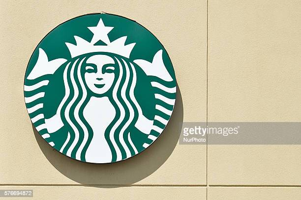 A general view of a Starbucks logo seen in South Edmonton Common a retail power centre located in Edmonton Alberta The flagship shopping complex is...