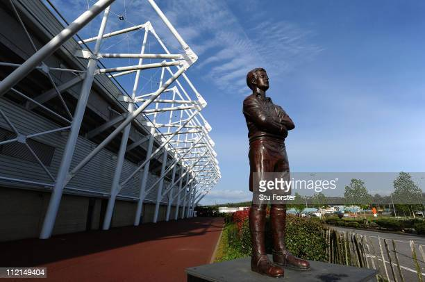 A general view of a statue in memory of Swansea City player Ivor Allchurch of Liberty Stadium used by both Swansea City and Ospreys Rugby on April 12...