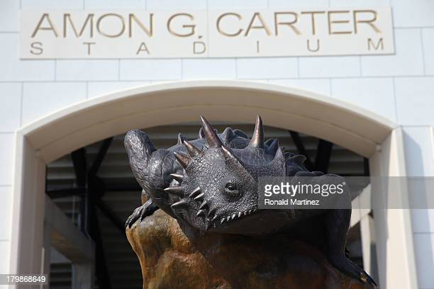 General view of a statue of a TCU Horned Frog at Amon G Carter Stadium on September 7 2013 in Fort Worth Texas
