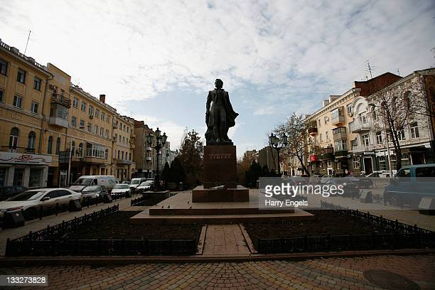 A general view of a statue of Alexander Pushkin on November 18 2011 in RostovnaDonu Russia RostovnaDonu is one of thirteen cities proposed as a host...