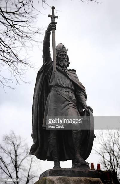 A general view of a statue of Alfred The Great on February 6 2013 in Winchester England King Alfred lived from 849 AD to 899 AD and is the only...