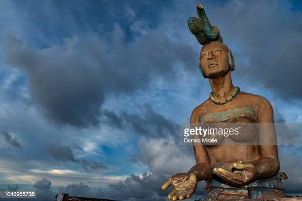 A general view of a statue of Ichitel the Mayan Moon goddess in Garrafon Reef Park in Punta Sur on September 27 2018 in Isla Mujeres Mexico Known as...