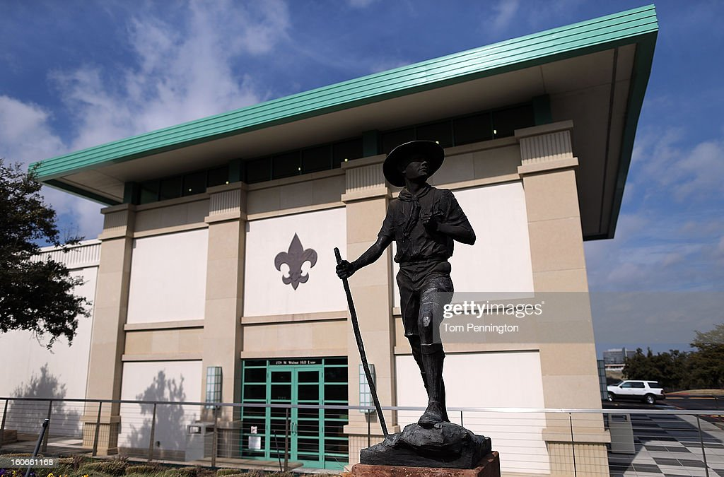 A general view of a statue outside the National Scouting Museum on February 4, 2013 in Irving, Texas. The BSA national council announced they were considering to leave the decision of inclusion of gays to the local unit level. U.S. President Barack Obama urged the organization to end a ban on gays.