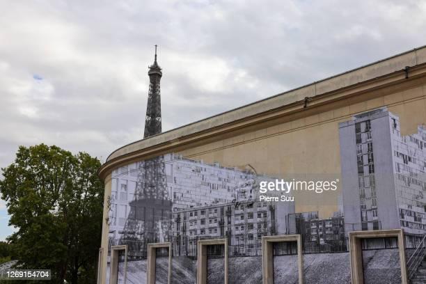 """General view of a stencil by artist """"JR"""" on the wall of the Palais de Tokyo the """"Jusqu'Ici Tout Va Bien - Workshop De L'Ecole Kourtrajme"""" :..."""