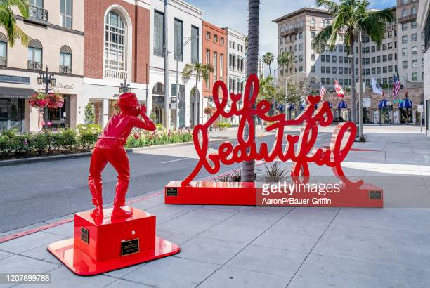 General view of a street art installation on Rodeo Drive after Los Angeles ordered the closure of all non-essential services and entertainment venues...