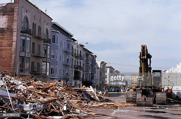 General view of a street in San Francisco after the Loma Prieta earthquake hit prior to World Series game three between the Oakland Athletics and San...