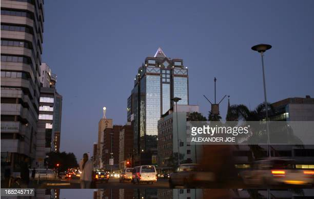 A general view of a street is in Harare on September 14 2008 On the eve of Zimbabwe's powersharing deal ordinary Zimbabweans hope for an end to the...