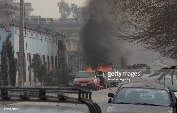 A general view of a street is seen after a suicide car bomber targeted an office of the charity 'Save the Children' in eastern Nangarhar provinces...