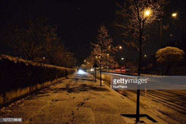 A general view of a street is seen during a heavy snowfall in the winter season in Ankara Turkey on December 12 2018