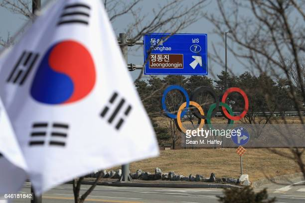 A general view of a street scene near the Gangneung Coastal Cluster host of the Pyeongchang 2018 Winter Olympic Games on February 28 2017 in...