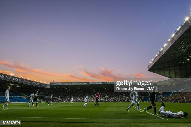 General view of a sunset and match action at Elland Road the home stadium of Leeds Unitedduring the Carabao Cup First Round match between Leeds...