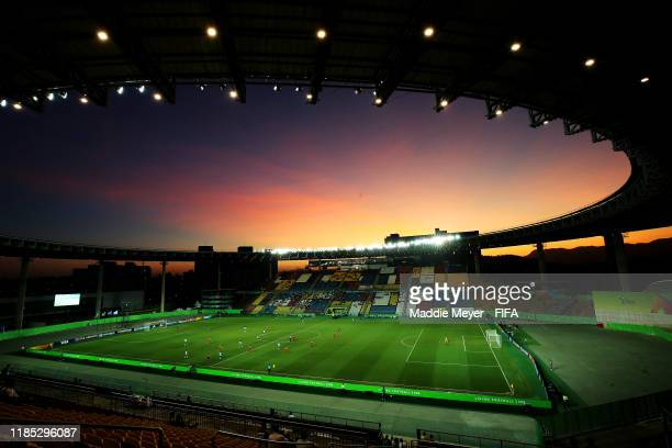 A general view of a sunset during the FIFA U17 World Cup Brazil 2019 Group E match between Argentina and Tajikistan at Estádio Kléber Andrade on...