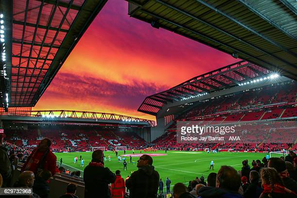 A general view of a sunset over Anfield the home stadium of Liverpool prior to kick off during the Premier League match between Liverpool and West...