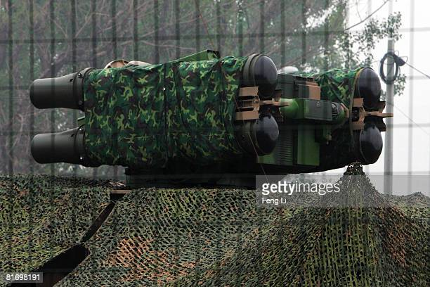 A general view of a surfacetoair missile launcher at a newly installed military airbase near the Olympic green on June 25 2008 in Beijing China In...