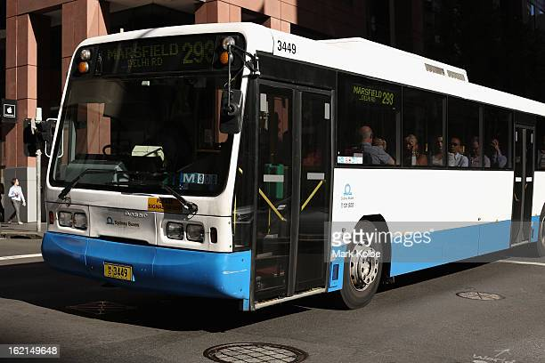 A general view of a Sydney bus is seen in the CBD on February 19 2013 in Sydney Australia State Transit will be cutting buses on dead routes in a...