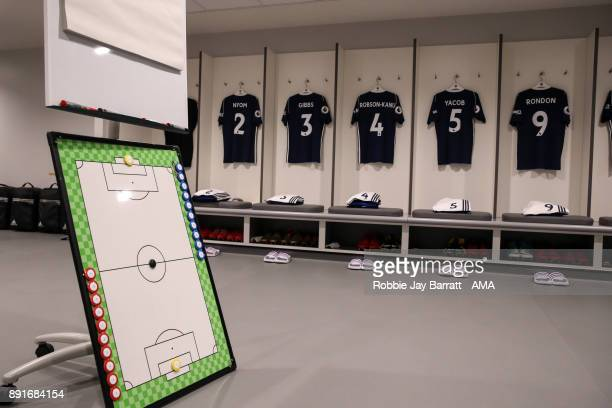 General view of a tactics board in the away dressing room prior to the Premier League match between Liverpool and West Bromwich Albion at Anfield on...