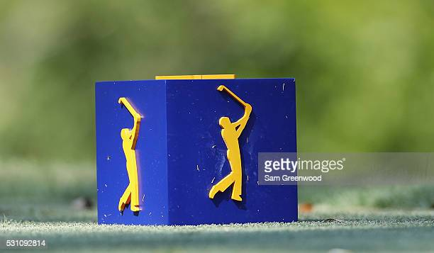 A general view of a tee marker during the first round of THE PLAYERS Championship at the Stadium course at TPC Sawgrass on May 12 2016 in Ponte Vedra...