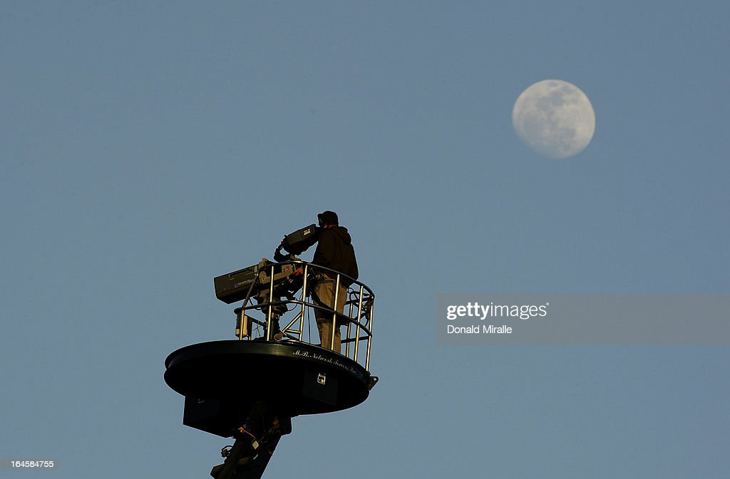 General view of a television cameraman working into the night during the Final Round of the LPGA 2013 Kia Classic at the Park Hyatt Aviara Resort on March 24, 2013 in Carlsbad, California.