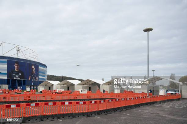 A general view of a temporary drivethrough coronavirus testing area set up at the Cardiff City Stadium on April 3 in Cardiff Wales The Coronavirus...