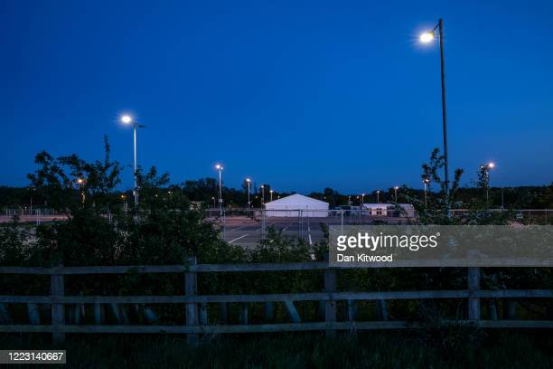 A general view of a temporary mortuary at a park and ride carpark on May 5 2020 in Chelmsford England As the UK reports the highest number of Covid19...