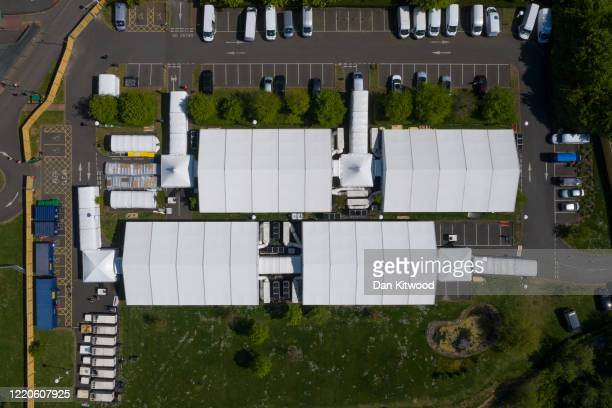 General view of a temporary mortuary being set up next to Breakspear Crematorium in the Ruislip area of the London Borough of Hillingdon on April 23,...