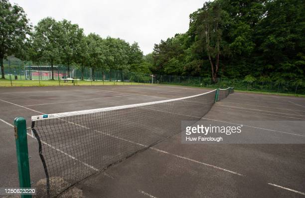 General view of a Tennis Court, which have remained closed since the start of the Pandemic on June 19, 2020 in Ystrad Mynach, Wales, United Kingdom....