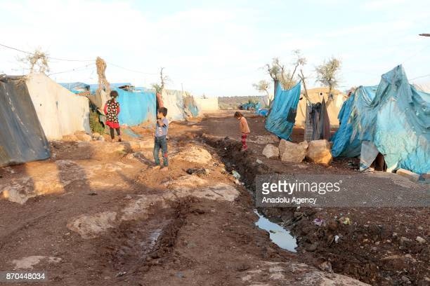 A general view of a tent city where hosts Internally displaced Syrians after heavy rains in Atme village of Idlib Syria on November 05 2017 In Syria...