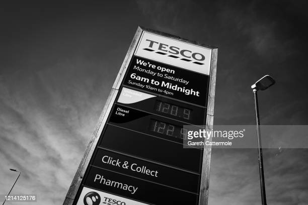 A general view of a Tesco shop sign on March 22 2020 in Bishop's Stortford Coronavirus has spread to at least 188 countries claiming over 13000 lives...