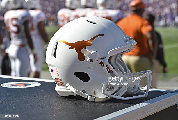 A general view of a Texas Longhorns helmet during a game against the Kansas State Wildcats on October 22 2016 at Bill Snyder Family Stadium in...