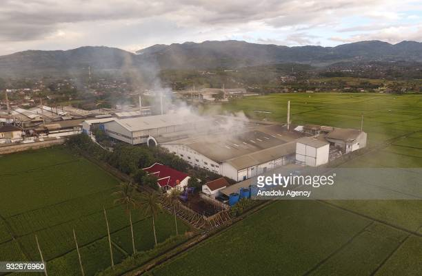 A general view of a textile factory that causes air pollution is seen in Sukamaju Village Majalaya Bandung West Java Indonesia on March 15 2018 About...