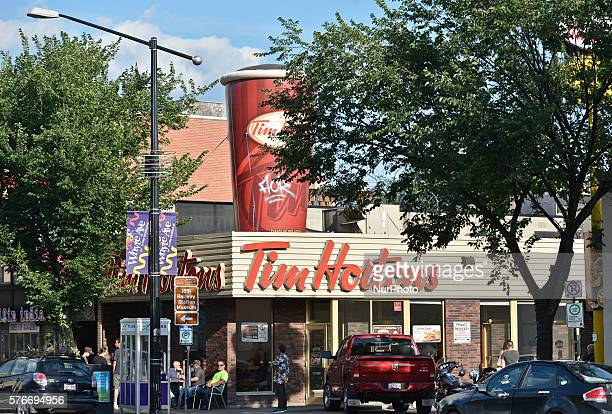 A general view of a TIM HORTONS logo seen in Edmonton's Whyte Avenue On Tuesday 12 July 2016 in Edmonton Alberta Canada