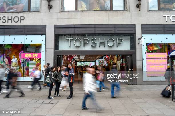 General view of a Topshop store on June 5, 2019 in London, England. Sir Philip Green has agreed to put an additional £25 000 into Arcadia Groups...