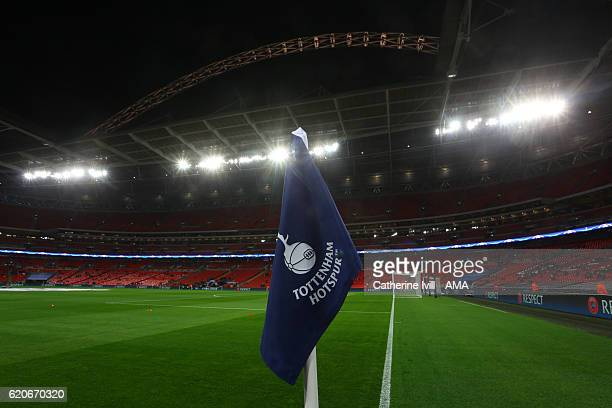 General view of a Tottenham corner flag inside the stadium before the UEFA Champions League match between Tottenham Hotspur FC and Bayer 04...