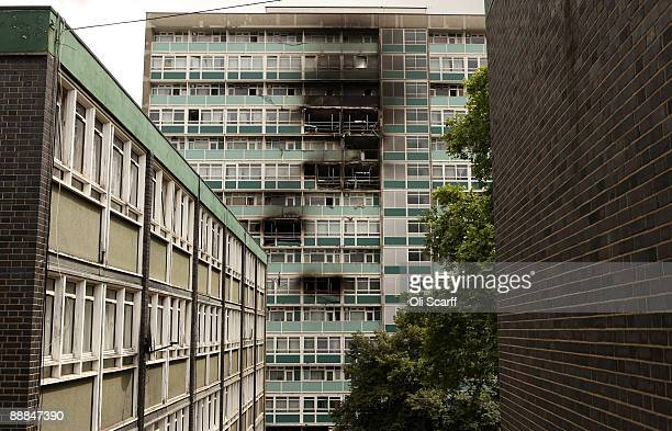 A general view of a tower block on the Sceaux Gardens Estate in Camberwell following a fire last Friday on July 6 2009 in London England Six people...