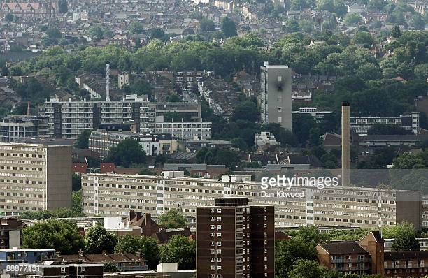 A general view of a tower block on the Sceaux Gardens Estate in Camberwell which caught fire last Friday from the roof of Cromwell Tower on the...