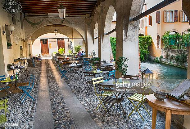 General view of a traditional restaurant in Treviso seen on August 24, 2013 in Treviso, Italy. Treviso claims that Tiramisu was invented in the 1960s...
