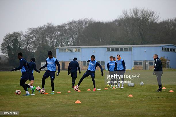 A general view of a training session during Wycombe Wanderers Media Access at the Wycombe Wanderers FC Training Ground on January 26 2017 in High...