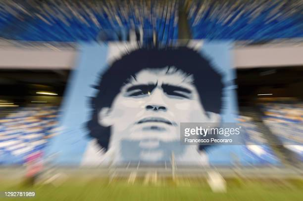 General view of a tribute in memory of Diego Maradona, who recently passed away prior to the Serie A match between SSC Napoli and Torino FC at Stadio...