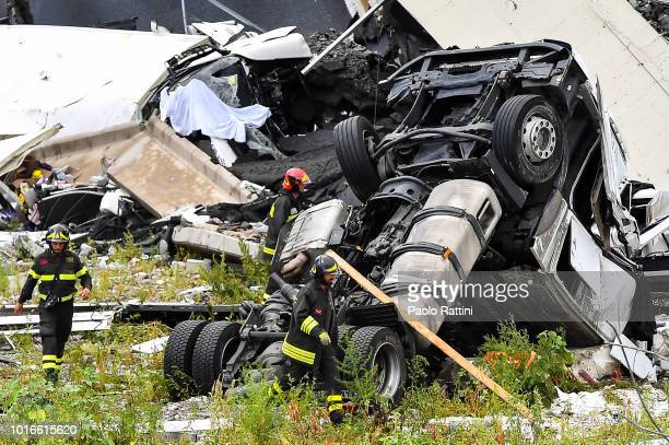 A general view of a truck fallen from of the Morandi bridge which collapsed on August 14 2018 in Genoa Italy At at least 22 people have died when a...