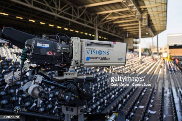 A general view of a TV camera before the Sky Bet Championship match between Fulham and Wolverhampton Wanderers at Craven Cottage on February 24 2018...