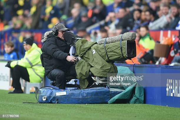 A general view of a TV camera during the Barclays Premier League match between Leicester City and Norwich City at The King Power Stadium on February...