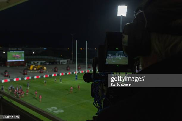 General view of a TV camera during the round one Super Rugby match between the Crusaders and the Brumbies at AMI Stadium on February 25 2017 in...