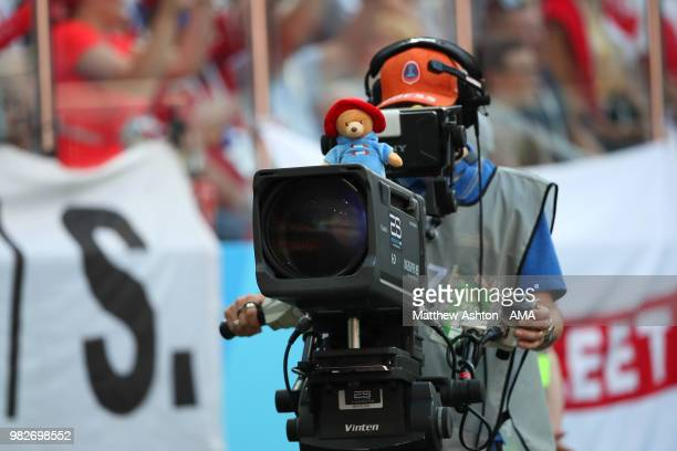 General View of a TV Camera with a Paddington Bear sitting on top during the 2018 FIFA World Cup Russia group G match between England and Panama at...