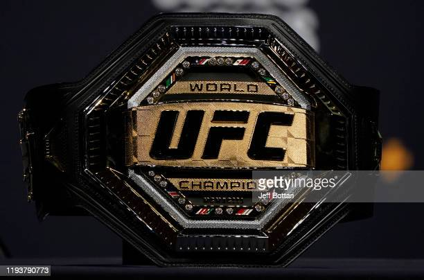 General view of a UFC championship belt prior to the UFC 247 press conference at T-Mobile Arena on December 13, 2019 in Las Vegas, Nevada.