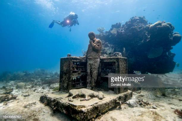 A general view of a underwater sculpture at MUSA off the coast of Isla Mujeres Mexico on September 26 2018 Consisting of over 500 permanent lifesized...